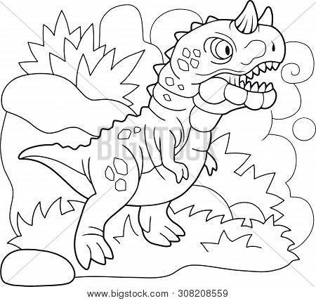 Cartoon Prehistoric Dinosaur Carnotaurus, Coloring Book, Funny Illustration