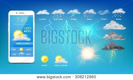 Online Weather Widget On Smartphone Screen Vector. Sunny And Partly Cloudy, Sleet Rain And Storm, Fo