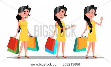 Character Young Woman Shopaholic With Bag Vector. Beautiful Smiling Glamor Girl Enjoyment Shopogolic