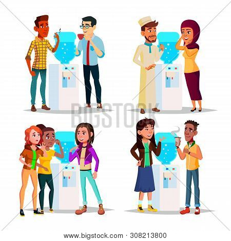 Character Water Cooler Talking Gossip Set Vector. Young Business Man And Woman Employee Colleague Go