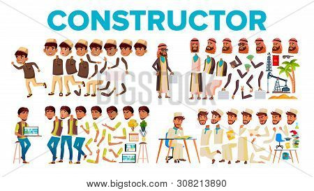 Character Male Constructor Body Detail Set Vector. Collection Of Angry And Happy Young Man, Little B