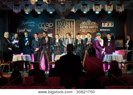 MOSCOW - APRIL 27: Announcement of winners of Sommeliers competition, on April 27, 2011 in Moscow, Russia. Main prize of National sommelier  competition Wine People Trophy Russia 2011 is $2500.