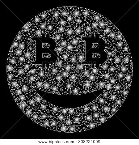 Glossy Mesh Glad Bitcoin Smiley With Lightspot Effect. Abstract Illuminated Model Of Glad Bitcoin Sm