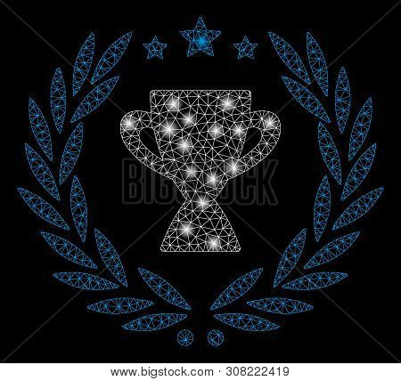 Glowing Mesh Glory Emblem With Lightspot Effect. Abstract Illuminated Model Of Glory Emblem Icon. Sh