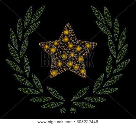 Bright Mesh Star Glory Wreath With Glitter Effect. Abstract Illuminated Model Of Star Glory Wreath I