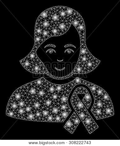 Glowing Mesh Girl With Sympathy Ribbon With Glow Effect. Abstract Illuminated Model Of Girl With Sym