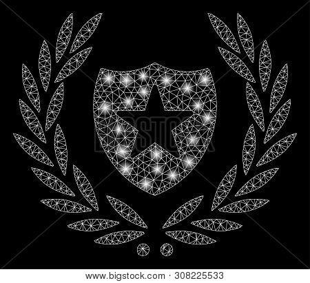 Glowing Mesh Glory Shield With Glare Effect. Abstract Illuminated Model Of Glory Shield Icon. Shiny