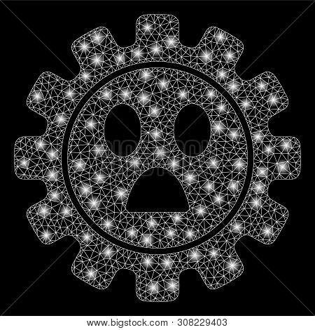 Glossy Mesh Gear Wonder Smiley With Glow Effect. Abstract Illuminated Model Of Gear Wonder Smiley Ic