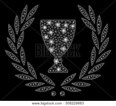 Bright Mesh Glory Wreath With Glare Effect. Abstract Illuminated Model Of Glory Wreath Icon. Shiny W