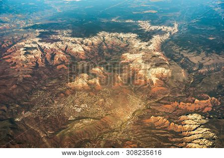 Aerial View Over Grand Canyon In Arizona