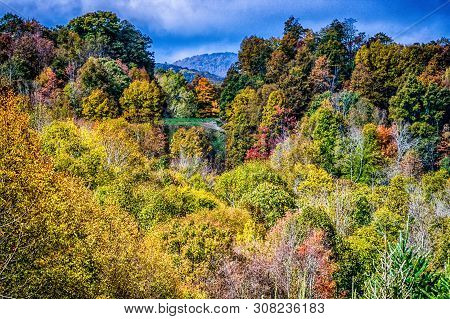Picturesque Autumn Mountain Landscape In West Virginia