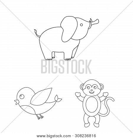 An Unrealistic Outline Animal Icons In Set Collection For Design. Toy Animals Bitmap Symbol Stock We