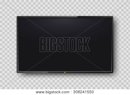 Realistic Tv Screen On Transparent Background. Modern Blank Screen Lcd, Smart Led. Mock Up Template