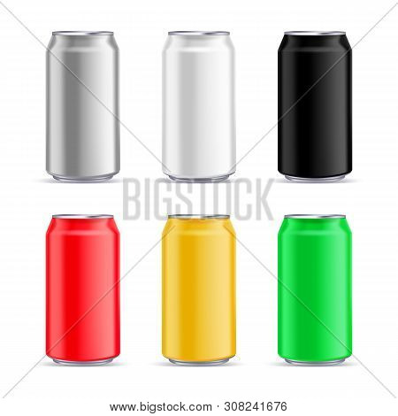 Aluminium Can Mockup Design Template. Vector Realistic 3d Illustration Of Multicolor Aluminum Beer,