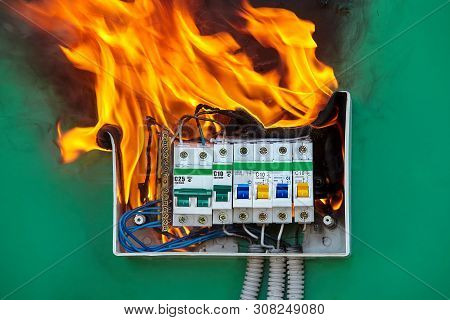 Damaged Circuit Breaker Became The Cause Of Electrical Short Circuit And Caused The Switchboard To I