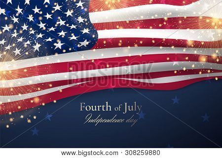 Vector Template With Waving American Flag And Gold Fireworks For Banners Of Independence Day. Festiv