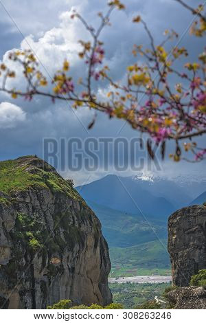 Impressive Rock Formations And Landscape At Meteora, Trikala Region, Greece