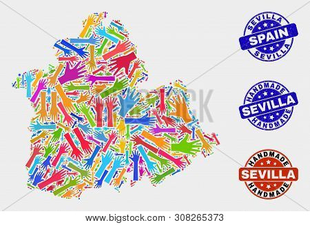 Vector Handmade Combination Of Sevilla Province Map And Unclean Stamps. Mosaic Sevilla Province Map