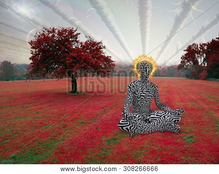 Spiritual composition. Man meditates in lotus pose in surreal landscape. 3D rendering
