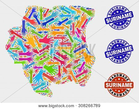 Vector Handmade Composition Of Suriname Map And Unclean Seals. Mosaic Suriname Map Is Composed Of Ra