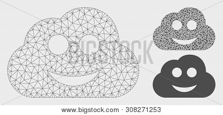 Mesh Glad Cloud Model With Triangle Mosaic Icon. Wire Carcass Polygonal Mesh Of Glad Cloud. Vector M
