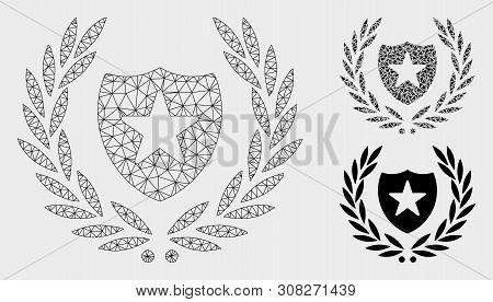 Mesh Glory Shield Model With Triangle Mosaic Icon. Wire Carcass Triangular Mesh Of Glory Shield. Vec