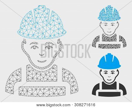 Mesh Glad Worker Model With Triangle Mosaic Icon. Wire Frame Triangular Mesh Of Glad Worker. Vector