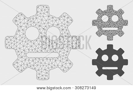 Mesh Gear Pity Smiley Model With Triangle Mosaic Icon. Wire Carcass Triangular Network Of Gear Pity