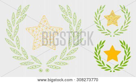 Mesh Star Glory Wreath Model With Triangle Mosaic Icon. Wire Frame Triangular Mesh Of Star Glory Wre