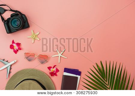 Table Top View Food Items Of Travel Summer Holiday & Vacation Background Concept.flat Lay Arrangemen