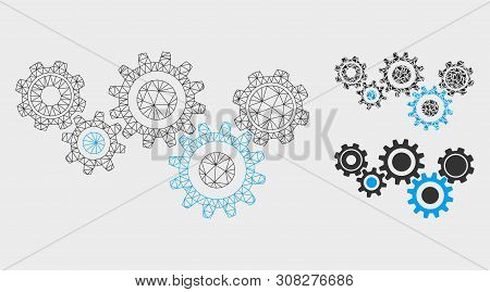 Mesh Gear Mechanism Model With Triangle Mosaic Icon. Wire Frame Polygonal Mesh Of Gear Mechanism. Ve