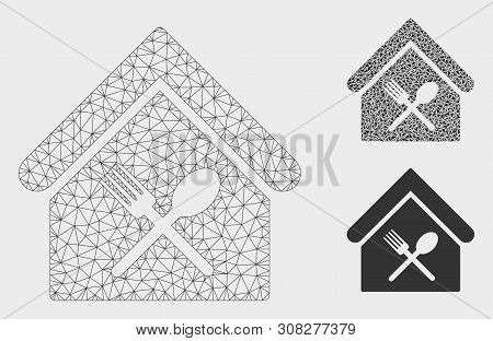 Mesh Food Court Model With Triangle Mosaic Icon. Wire Carcass Polygonal Mesh Of Food Court. Vector M