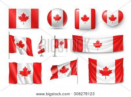 Various Canada Flags Set Isolated On White Background. Realistic Waving National Flag On Pole, Table