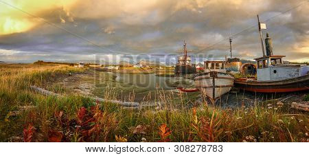 Panoramatic View Of Old Harbor In Town Of Homer In Alaska