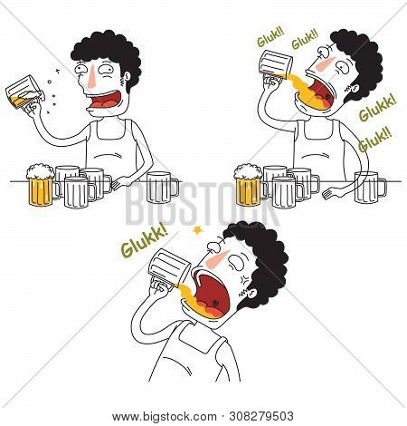 Illustration Of Tree Drunken Men Drink Some Beers