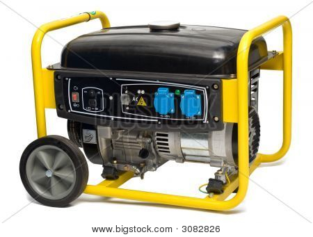 Yellow-Black Electric Ac Generator Isolated On White