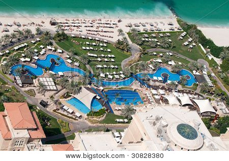 Pool and beach area of the luxury hotel