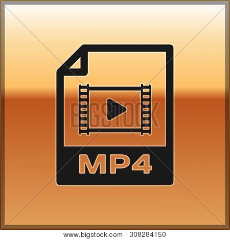 Black Mp4 File Document Icon. Download Mp4 Button Icon Isolated On Gold Background. Mp4 File Symbol.