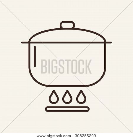 Saucepan Line Icon. Pot, Pan, Lid, Burner. Cooking Concept. Vector Illustration Can Be Used For Topi