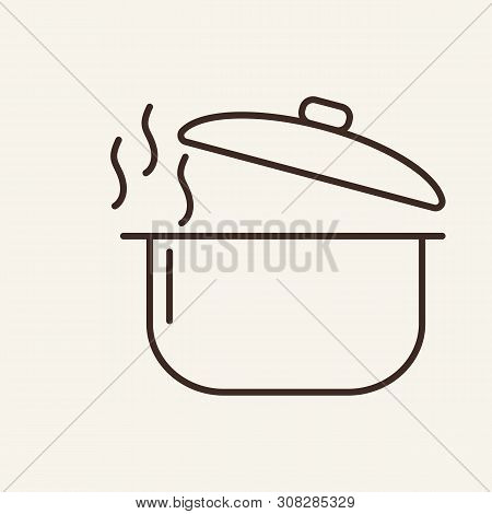 Steaming Saucepan Line Icon. Pot, Pan, Open Lid, Hot. Cooking Concept. Vector Illustration Can Be Us