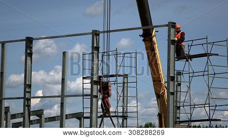 Construction Of The Shop Of Metal .workers And Equipment On The Construction Site.