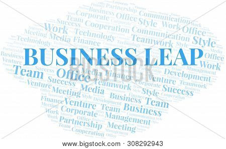 Business Leap Word Cloud. Collage Made With Text Only.