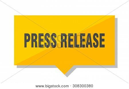 Press Release Yellow Square Price Tag On White Background