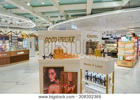 HONG KONG, CHINA - CIRCA APRIL, 2019: Chanel fragrances on display in Hong Kong International Airport Duty Free area.