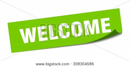 Welcome Square Sticker. Welcome Sign. Welcome Banner