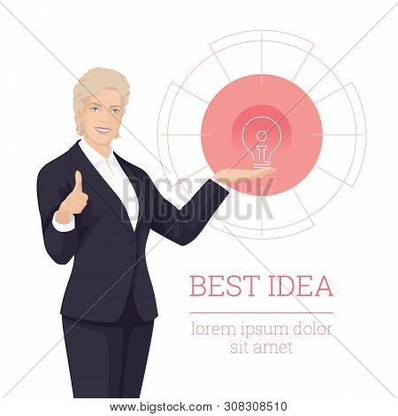 Peoples. Business Woman With Smile. Successful People. Like Hand Sign. Elegant Business Women. Adult