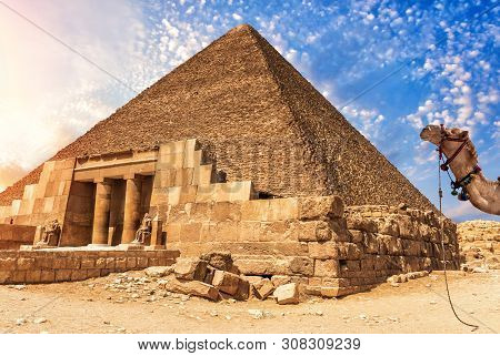 The Temple Complex Of Giza And The Pyramid Of Cheops, Egypt