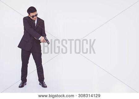 Man Holding A Gun, Smart Man. Boy