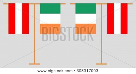 Austria And Ireland. The Austrian And Irish Vertical Flags. Official Colors. Correct Proportion. Vec