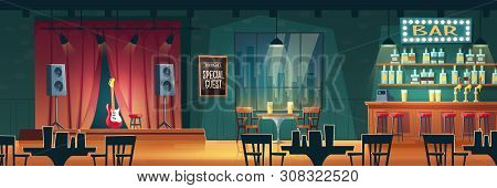 Music Bar, Beer Pub With Live Performances Cartoon Vector Interior. Bar Counter Desk, Tables And Cha
